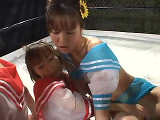 Japanese lesbians covered in oil