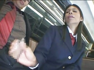 Horny schoolgirls in the train