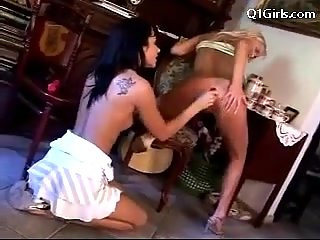 Lesbian girls sex romps with dildos