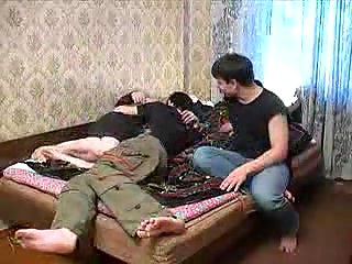 Hot mom and two lads in threesome fuck