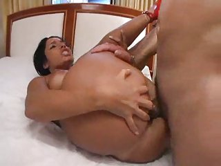 Wild brunette chick stuffing with hard cock