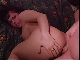 Dog style pose for pussy and anal drilling