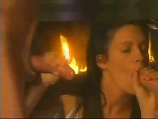 Hot threesome sex near fireplace