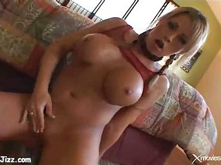 Blonde's butt cumshot