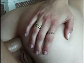 Cum on slut pussy after anal sex