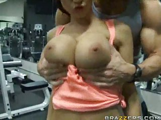 Sex with busty stuff in gym