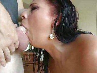 Stuffing brunette's deep throat
