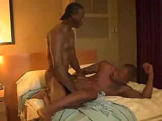 Ebony stud fucks white dude