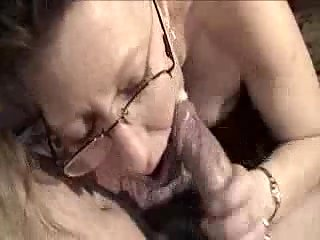 Sleeping cock in mature throat