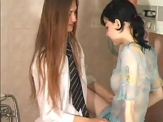 Teen lesbians with strapon