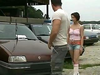 Threesome act in a motor salon