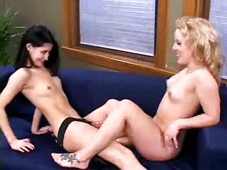 Burning lesbos adore strap-on!