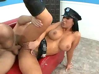 Busty police girl with cum on her tits