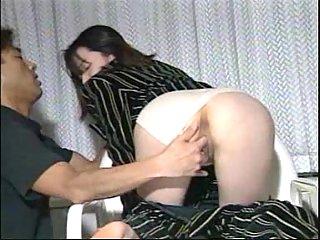 Shy Japanese girl drilling