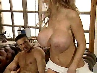 Titty milf gets cumshots on her belly and hands