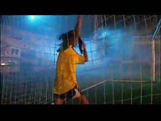 Naked football fan dance