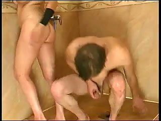 Blowjob in hall with fuck in bathroom