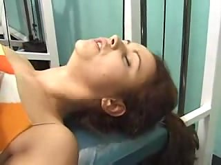 Sex with strapping trainer in gym
