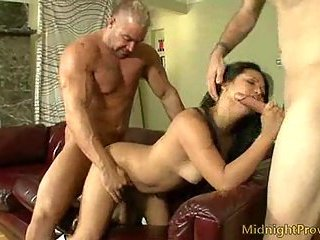 Hot threesome sex with brunette bitch
