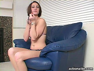 Hot chick Allie stripping her bikini on the couch