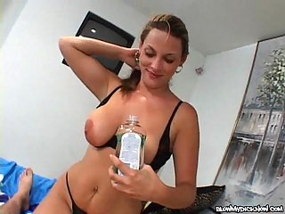 Busty Whore Stroking A Hard Cock