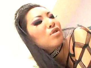 Asian tart in fishnet facialized after fuck