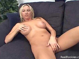 Hot Blonde Chick Giving A Handjob