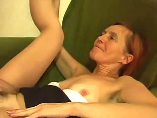 Slender Buttfucked Granny Catching Cum