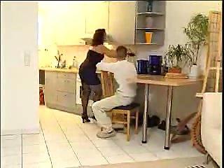 Kitchen Threeway Bang For Busty MILF