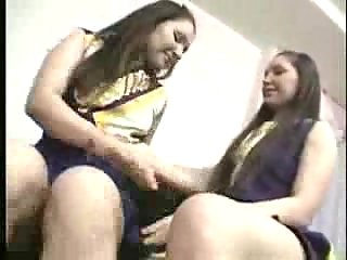 Brunette teens in ass licking action