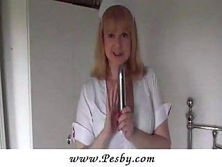 Mature Nurse Pleasing Twat With Toys