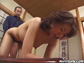 Japanese with hairy hole doggie fucking