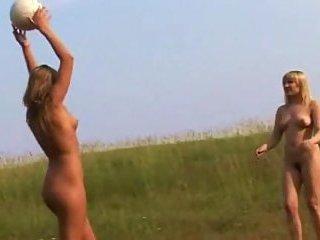 Nude sluts play ball outdoor