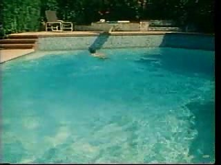 Vintage poolside copulation outdoor