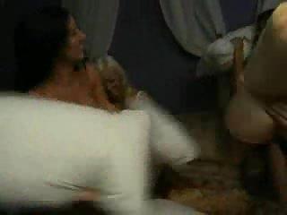 Busty nude lesbian fight