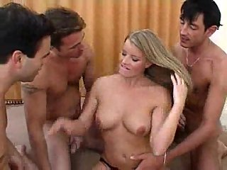 Horny Slut Pounded By Four Dicks Before Creaming