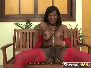 Sexy Brazilian shemale jerking off
