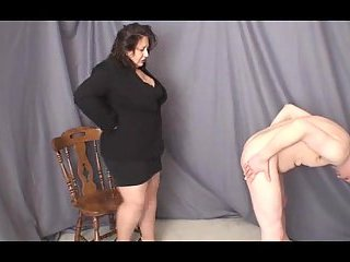 BBW In Clothes Dominates Over Nude Stud