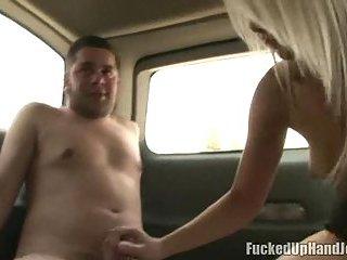 Skilful Handjob In A Van