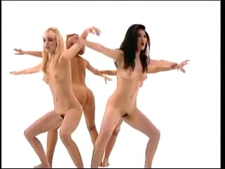 Four nude girls do exercises