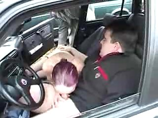 Mature Slut Blowing Dong In A Car