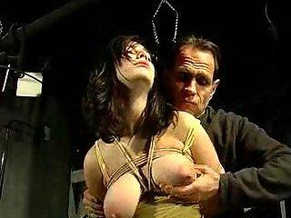 Bondage brunette with big tits