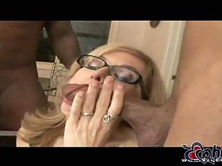 Nina making out with two black cocks