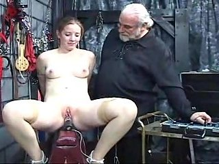 The Old Man Experiencing His Sex Machine On A Gir