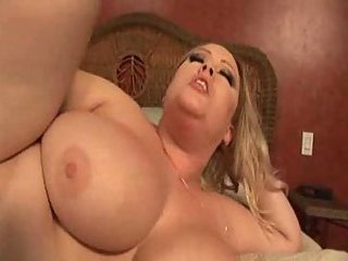 Blonde with big tits does tits job