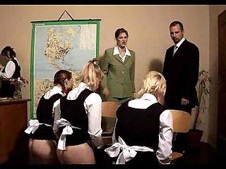 Naughty schoolgirls spanking