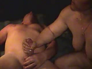 Wife jerking and riding hubby cock