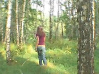 Ultra thin girlfriend blowing in the forest