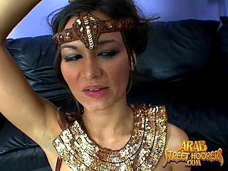 Cute Arab hooker gets two dicks
