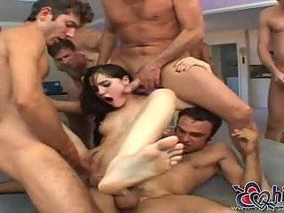 Gangbanged Sasha Grey gets cumload